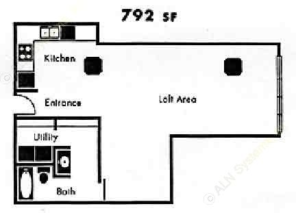 792 sq. ft. A14 floor plan