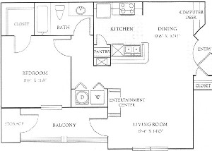 726 sq. ft. A floor plan