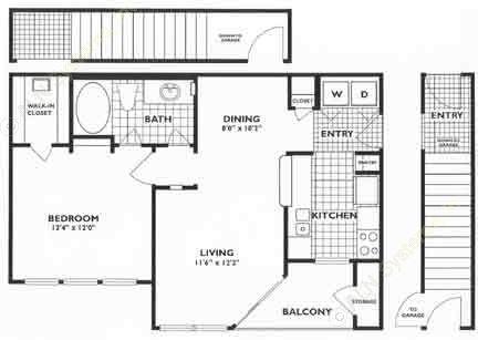 653 sq. ft. A1 floor plan