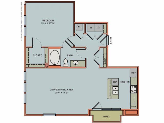 993 sq. ft. 2A3 floor plan