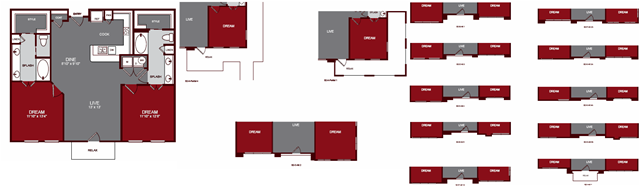 1,197 sq. ft. B2 floor plan