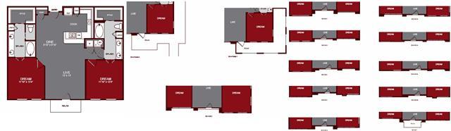 1,200 sq. ft. B2 floor plan