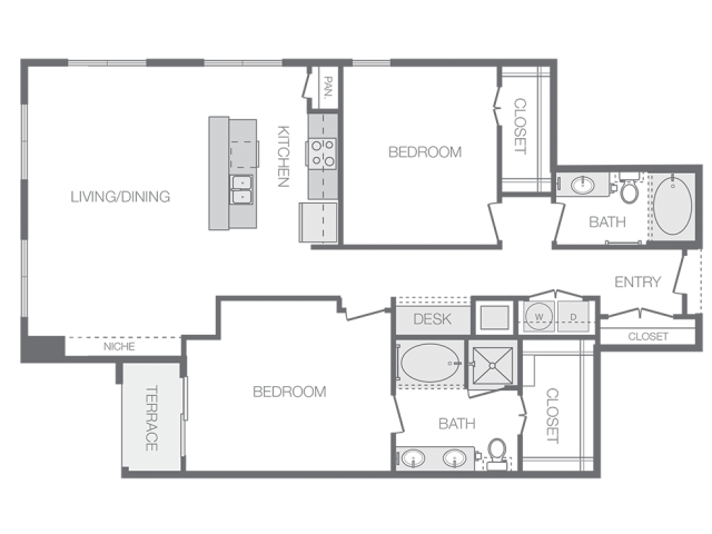 1,359 sq. ft. P floor plan