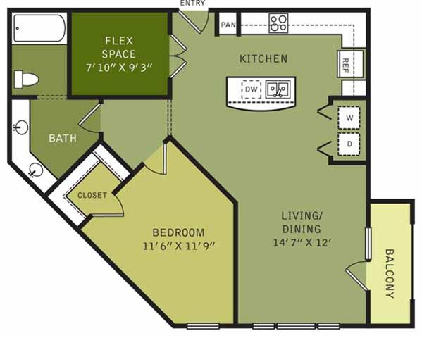 913 sq. ft. floor plan