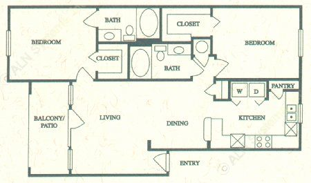 1,060 sq. ft. D floor plan