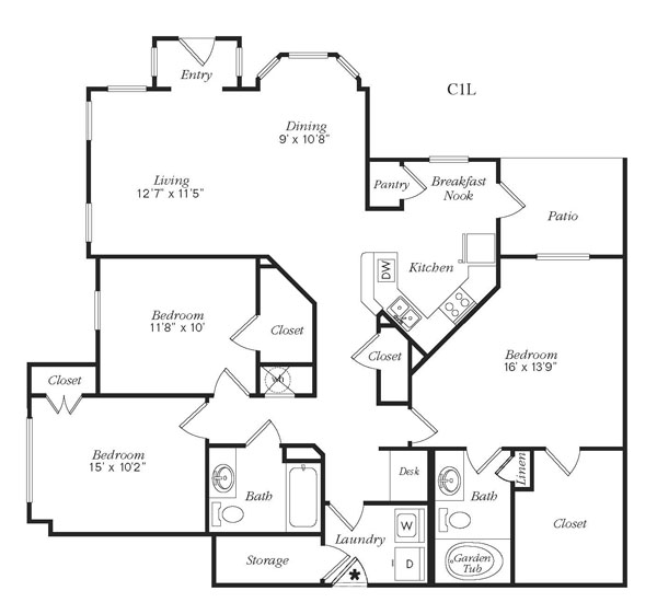 1,447 sq. ft. C1LG floor plan