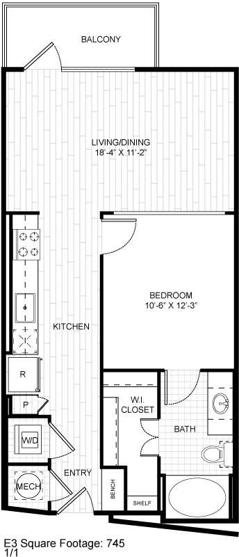 745 sq. ft. E3 floor plan