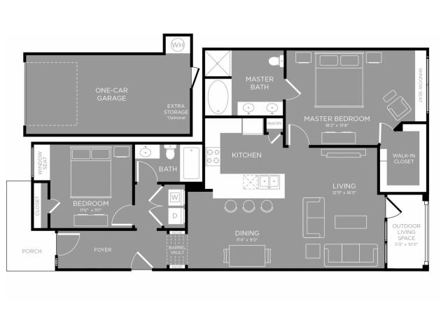 1,259 sq. ft. Magnolia floor plan