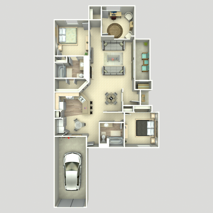 1,333 sq. ft. C1G/C2G floor plan