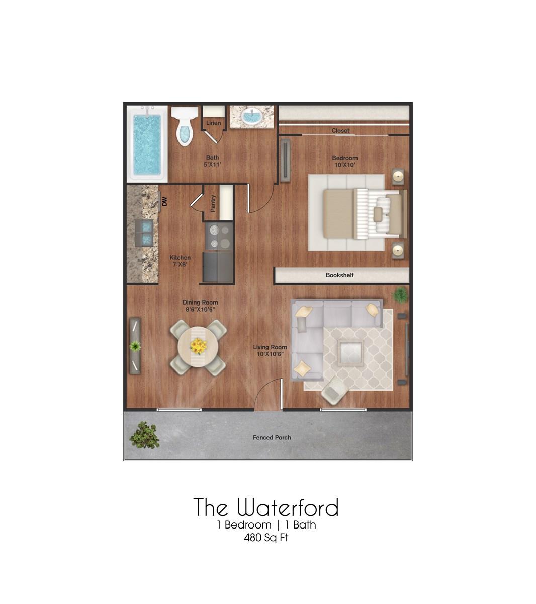 480 sq. ft. Waterford floor plan