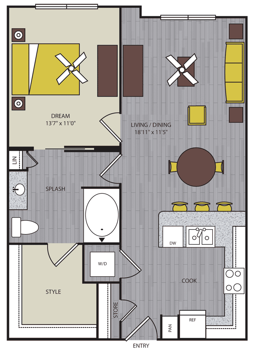 702 sq. ft. to 774 sq. ft. A6 floor plan