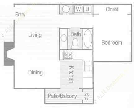 628 sq. ft. Rome (A1) floor plan