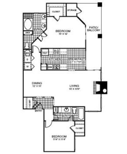 1,231 sq. ft. B3 floor plan