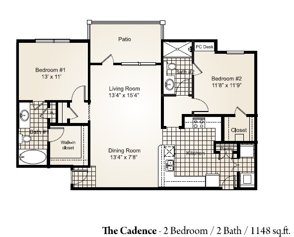 1,148 sq. ft. CADENCE floor plan