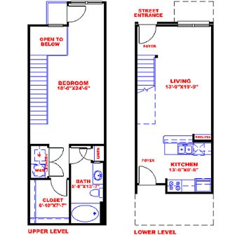 837 sq. ft. to 866 sq. ft. T1A floor plan