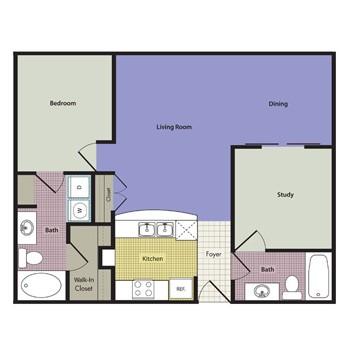 978 sq. ft. Lipari floor plan