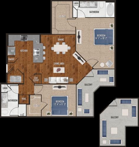 1,222 sq. ft. B6 floor plan