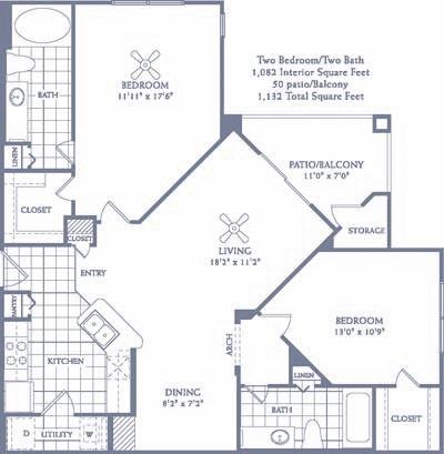 1,082 sq. ft. B3 floor plan