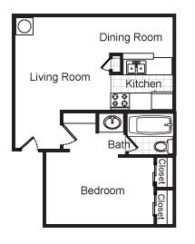 611 sq. ft. Bailey floor plan