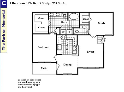 959 sq. ft. C floor plan