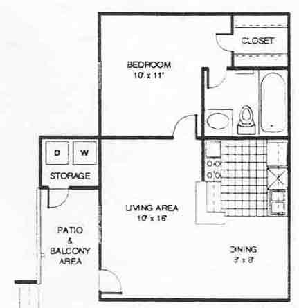 532 sq. ft. A1 floor plan