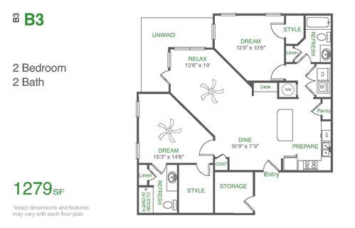 1,279 sq. ft. B3 floor plan