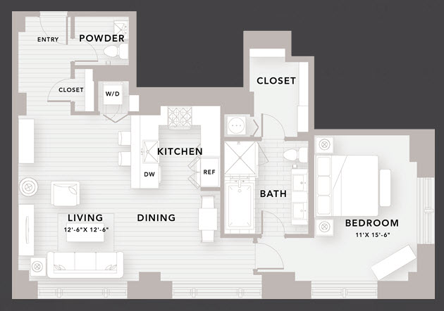 1,020 sq. ft. B8 floor plan
