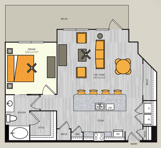 926 sq. ft. A10 floor plan