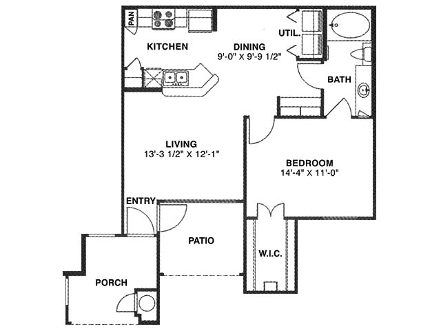 721 sq. ft. B1 60% floor plan