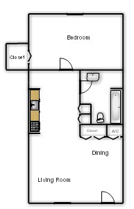 480 sq. ft. Ash floor plan