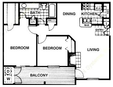 864 sq. ft. Buckingham floor plan