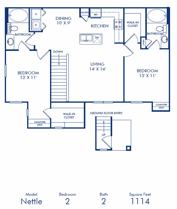 1,114 sq. ft. B4 floor plan
