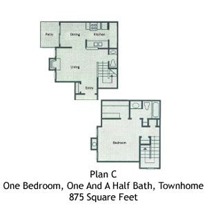 875 sq. ft. A3 floor plan