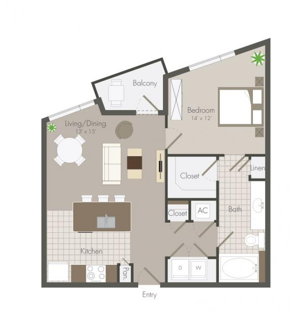 692 sq. ft. Blossom floor plan