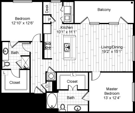 1,299 sq. ft. 22F4 floor plan