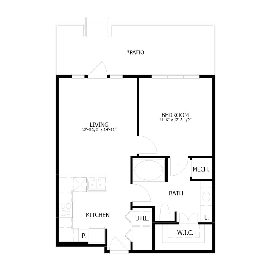692 sq. ft. A4 floor plan