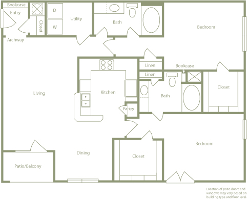1,331 sq. ft. C floor plan