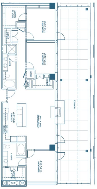 1,552 sq. ft. C1-Penthouse floor plan