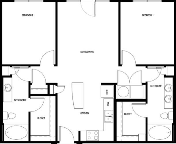 1,049 sq. ft. B1-II floor plan