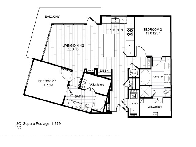 1,379 sq. ft. 2C floor plan