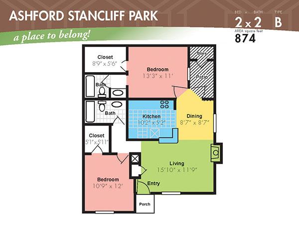 874 sq. ft. G floor plan