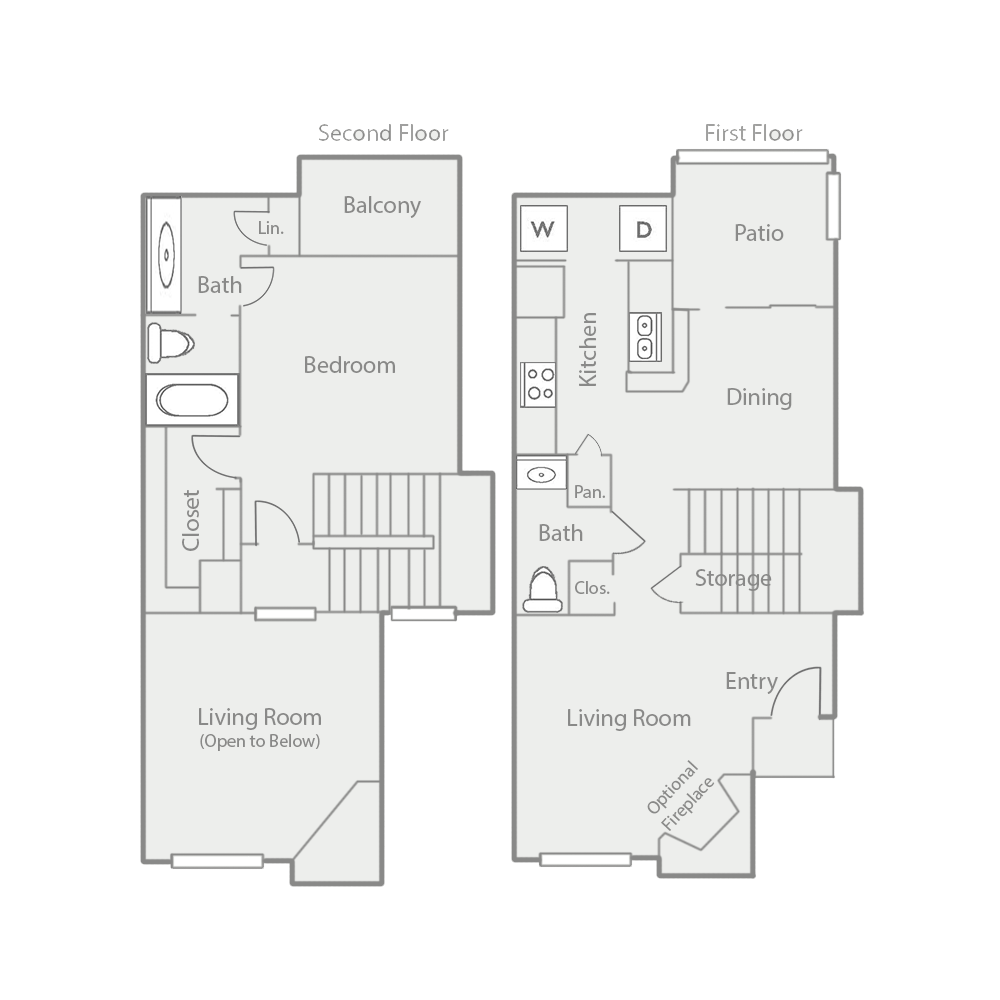 800 sq. ft. A6 floor plan