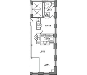 1,088 sq. ft. Unit 1 floor plan
