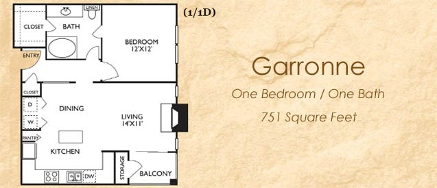 751 sq. ft. Garone floor plan