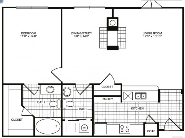 891 sq. ft. floor plan