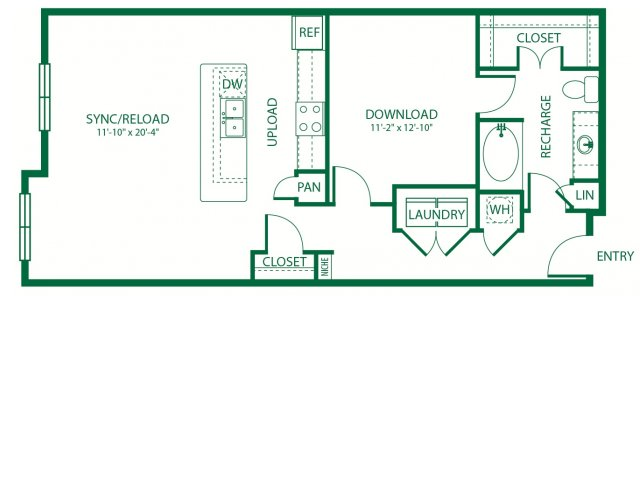 1,000 sq. ft. L1B Sync floor plan