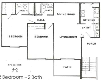 874 sq. ft. floor plan