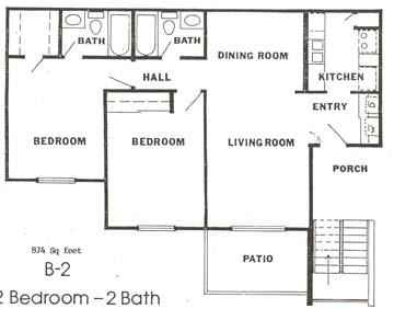 874 sq. ft. floor plan