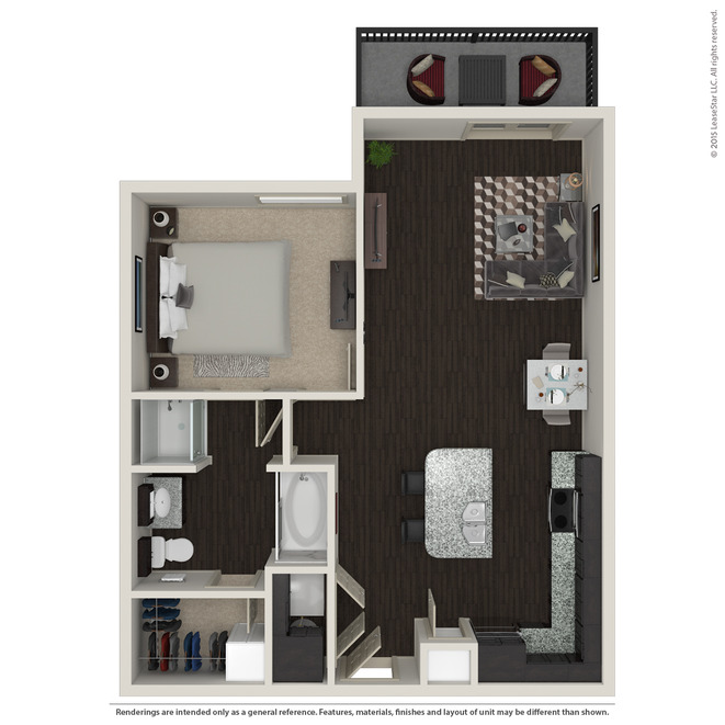 758 sq. ft. A2.5 floor plan