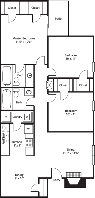 1,036 sq. ft. C1 floor plan